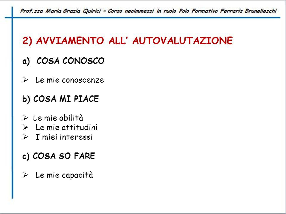 2) AVVIAMENTO ALL' AUTOVALUTAZIONE