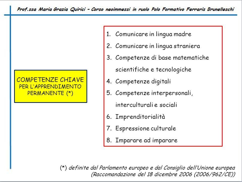 COMPETENZE CHIAVE PER L'APPRENDIMENTO PERMANENTE (*)