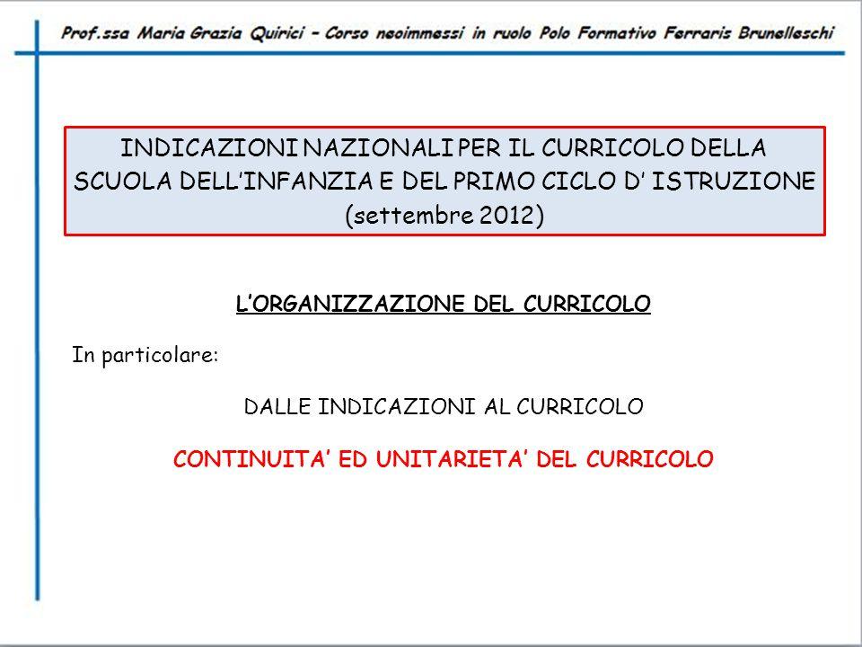 INDICAZIONI NAZIONALI PER IL CURRICOLO DELLA SCUOLA DELL'INFANZIA E DEL PRIMO CICLO D' ISTRUZIONE (settembre 2012)
