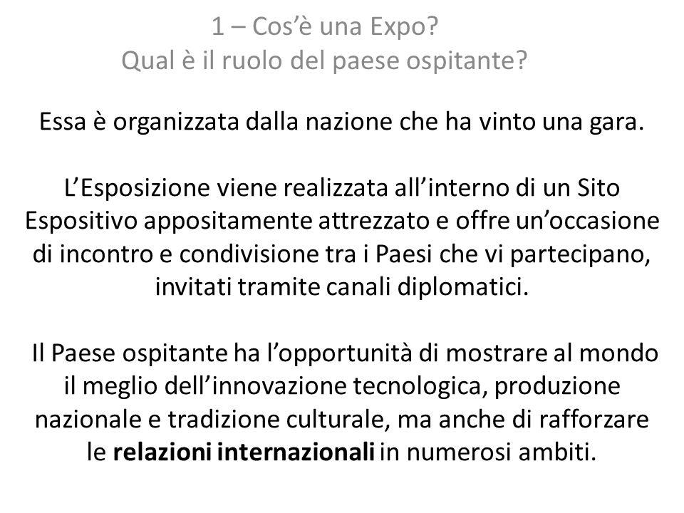 1 – Cos'è una Expo Qual è il ruolo del paese ospitante