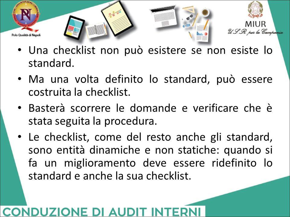 Una checklist non può esistere se non esiste lo standard.