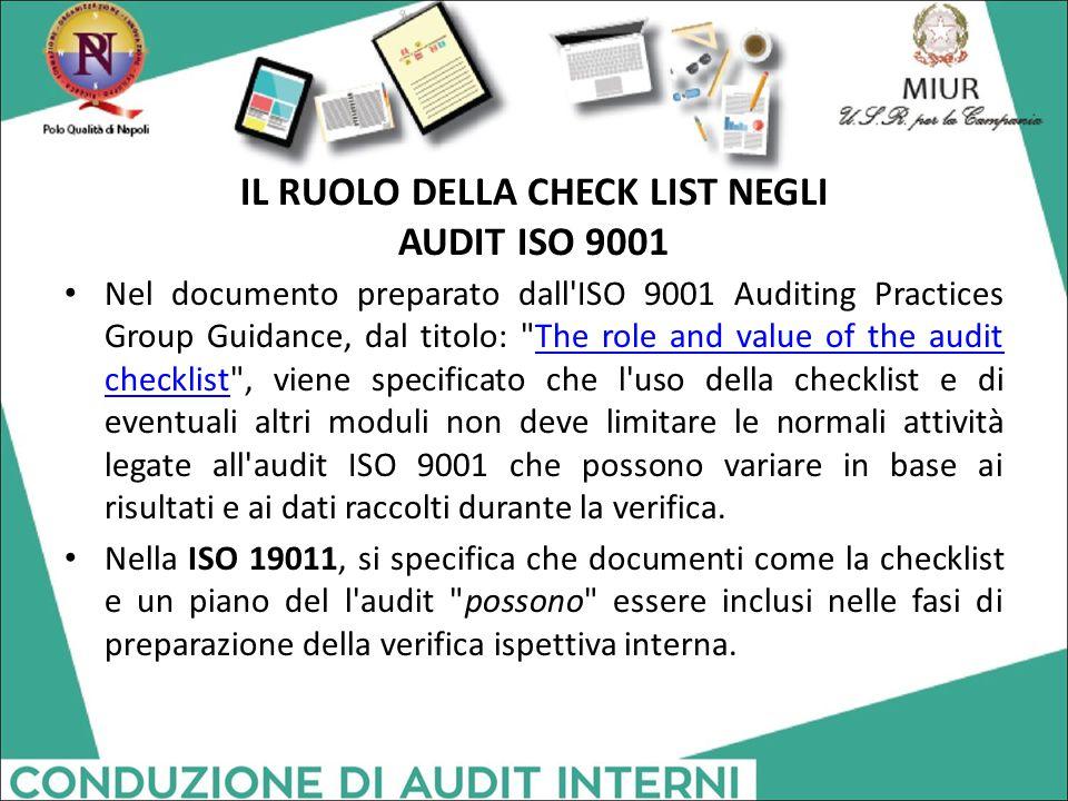 IL RUOLO DELLA CHECK LIST NEGLI AUDIT ISO 9001