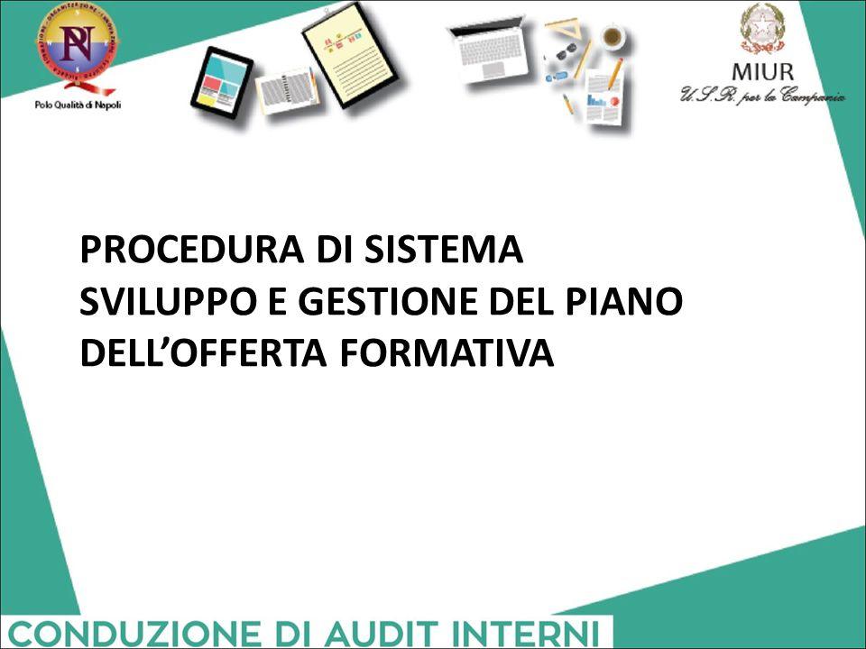 PROCEDURA DI SISTEMA SVILUPPO E GESTIONE DEL PIANO DELL'OFFERTA FORMATIVA