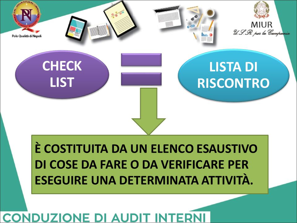 CHECK LIST LISTA DI RISCONTRO