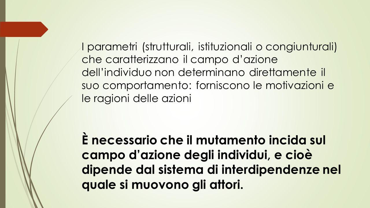 I parametri (strutturali, istituzionali o congiunturali) che caratterizzano il campo d'azione dell'individuo non determinano direttamente il suo comportamento: forniscono le motivazioni e le ragioni delle azioni