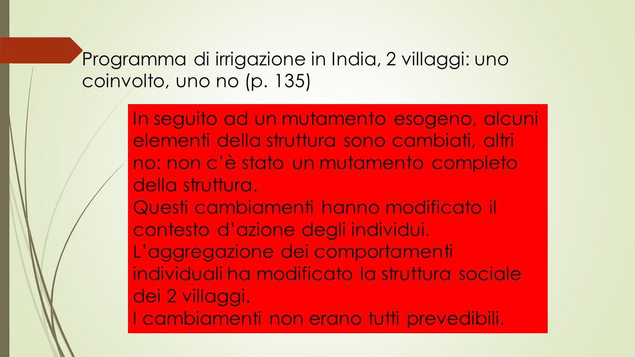 Programma di irrigazione in India, 2 villaggi: uno coinvolto, uno no (p. 135)