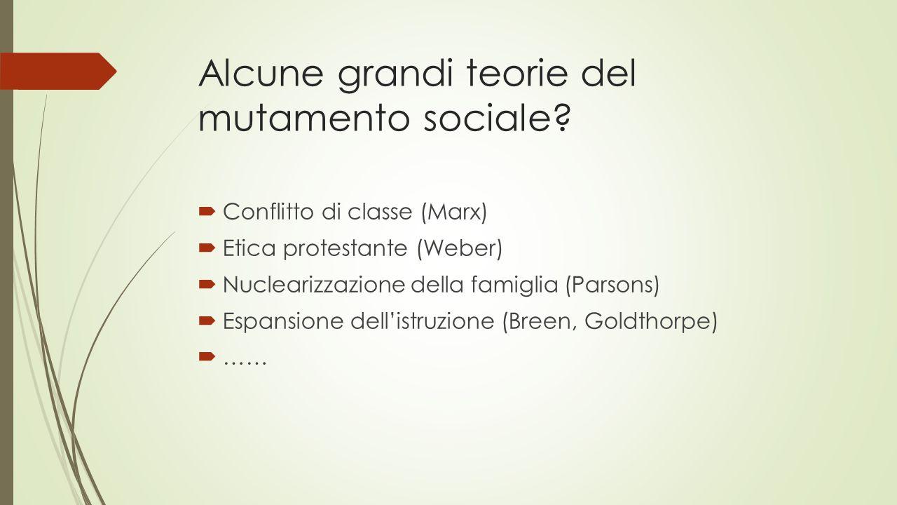 Alcune grandi teorie del mutamento sociale