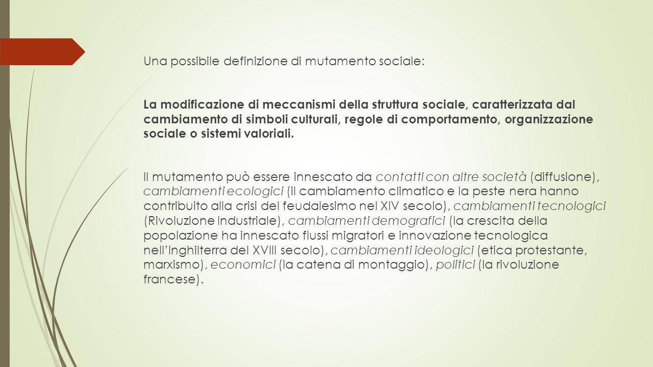 Una possibile definizione di mutamento sociale: La modificazione di meccanismi della struttura sociale, caratterizzata dal cambiamento di simboli culturali, regole di comportamento, organizzazione sociale o sistemi valoriali.