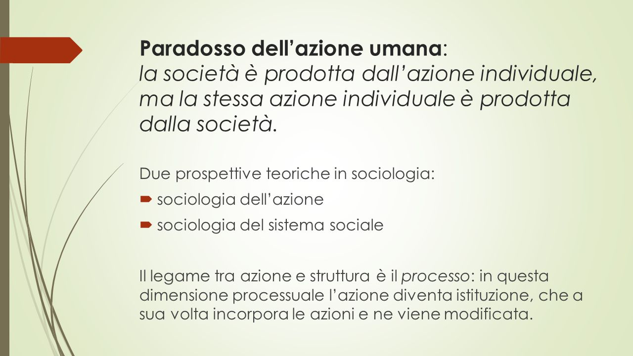 Paradosso dell'azione umana: la società è prodotta dall'azione individuale, ma la stessa azione individuale è prodotta dalla società.