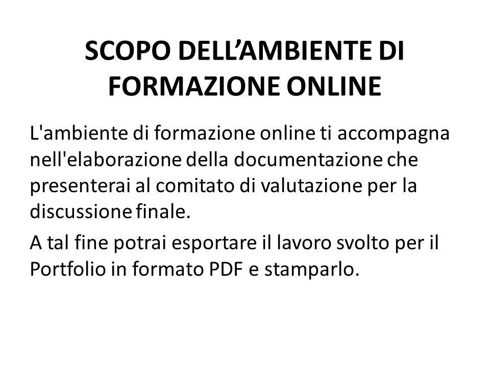 SCOPO DELL'AMBIENTE DI FORMAZIONE ONLINE