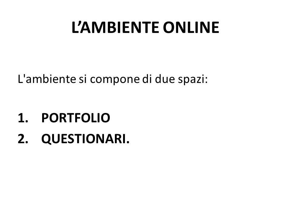 L'AMBIENTE ONLINE PORTFOLIO QUESTIONARI.
