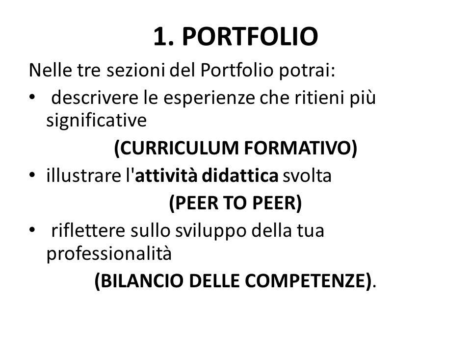 1. PORTFOLIO Nelle tre sezioni del Portfolio potrai: