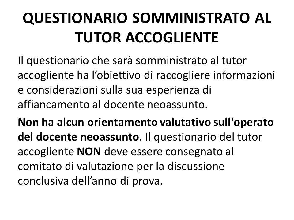 QUESTIONARIO SOMMINISTRATO AL TUTOR ACCOGLIENTE