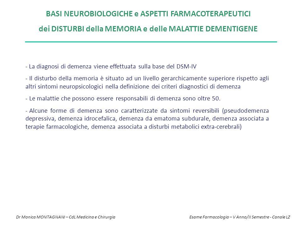 BASI NEUROBIOLOGICHE e ASPETTI FARMACOTERAPEUTICI