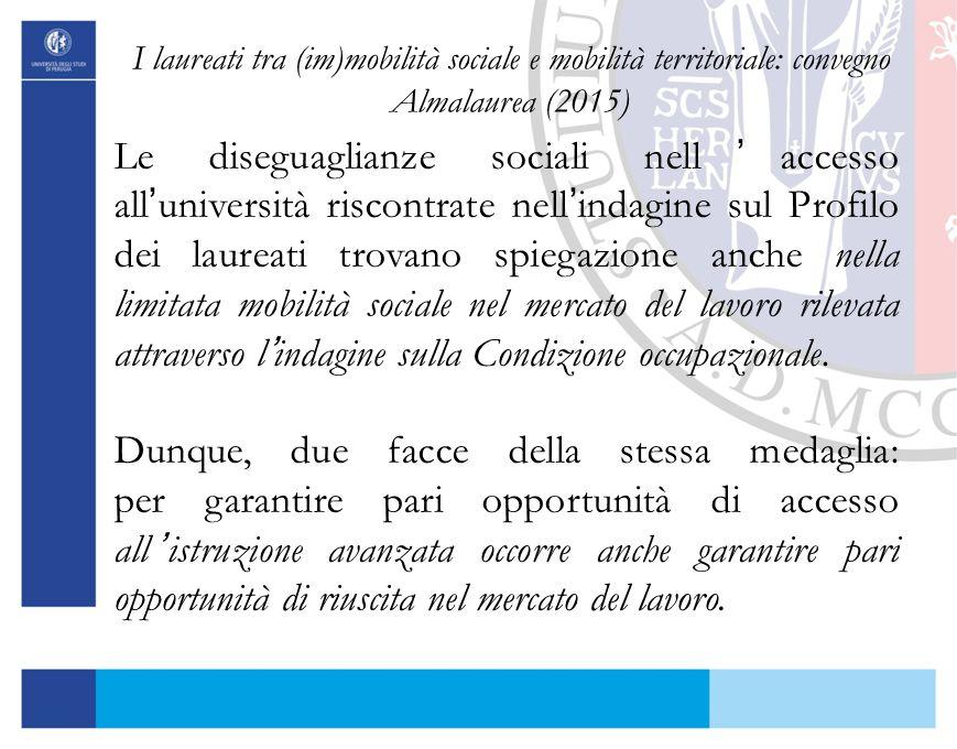 I laureati tra (im)mobilità sociale e mobilità territoriale: convegno Almalaurea (2015)