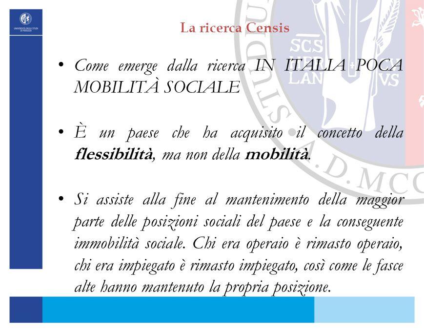 Come emerge dalla ricerca IN ITALIA POCA MOBILITÀ SOCIALE