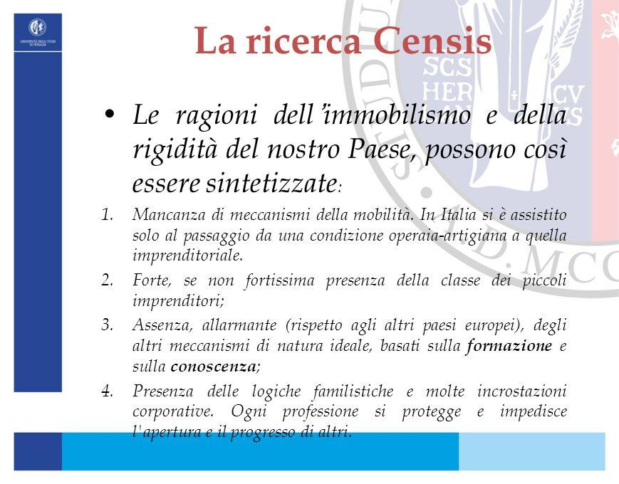 La ricerca Censis Le ragioni dell'immobilismo e della rigidità del nostro Paese, possono così essere sintetizzate: