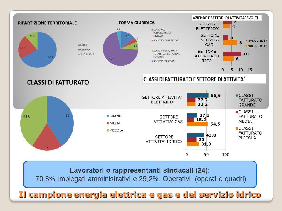 Il campione energia elettrica e gas e del servizio idrico