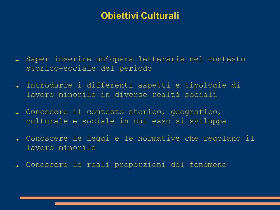 Obiettivi Culturali Saper inserire un'opera letteraria nel contesto storico- sociale del periodo.