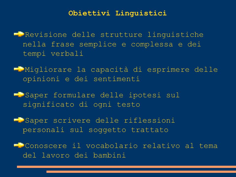 Obiettivi Linguistici