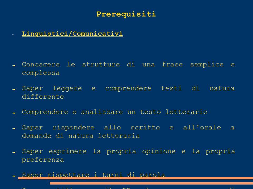 Prerequisiti Linguistici/Comunicativi
