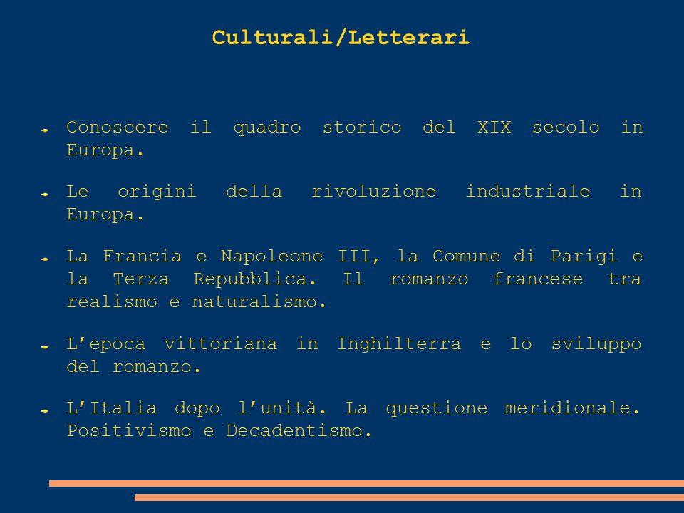Culturali/Letterari Conoscere il quadro storico del XIX secolo in Europa. Le origini della rivoluzione industriale in Europa.