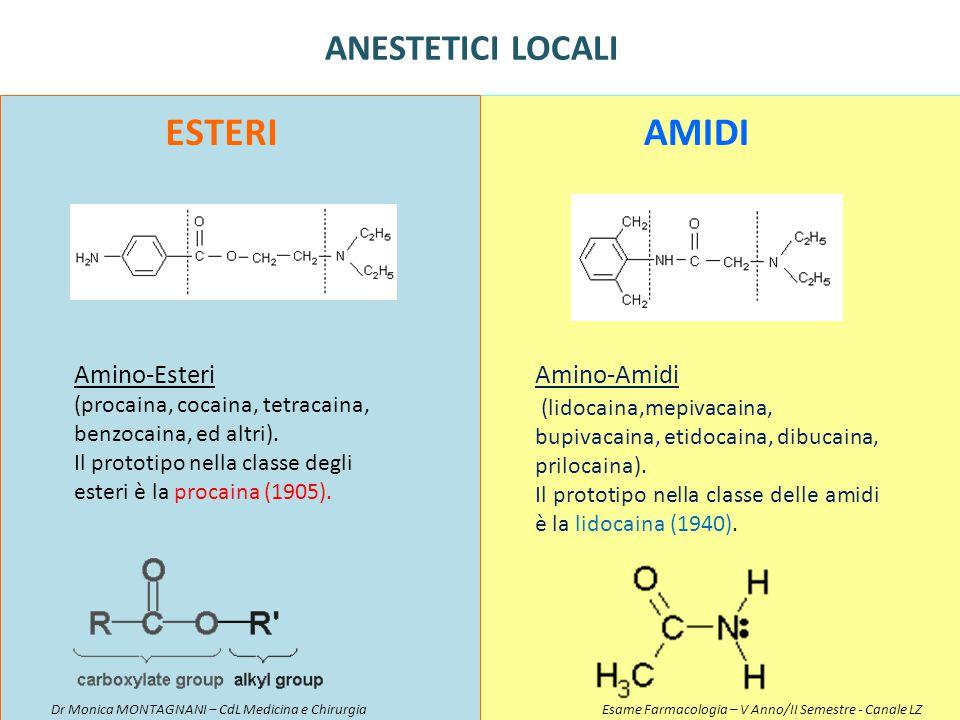 Esteri Amidi ANESTETICI LOCALI Amino-Esteri Amino-Amidi