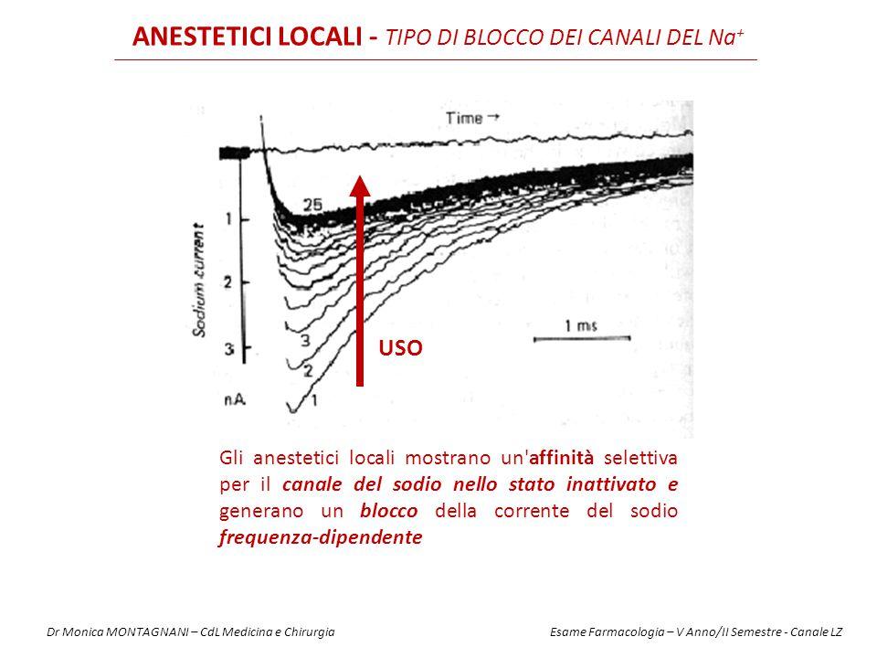 ANESTETICI LOCALI - TIPO DI BLOCCO DEI CANALI DEL Na+