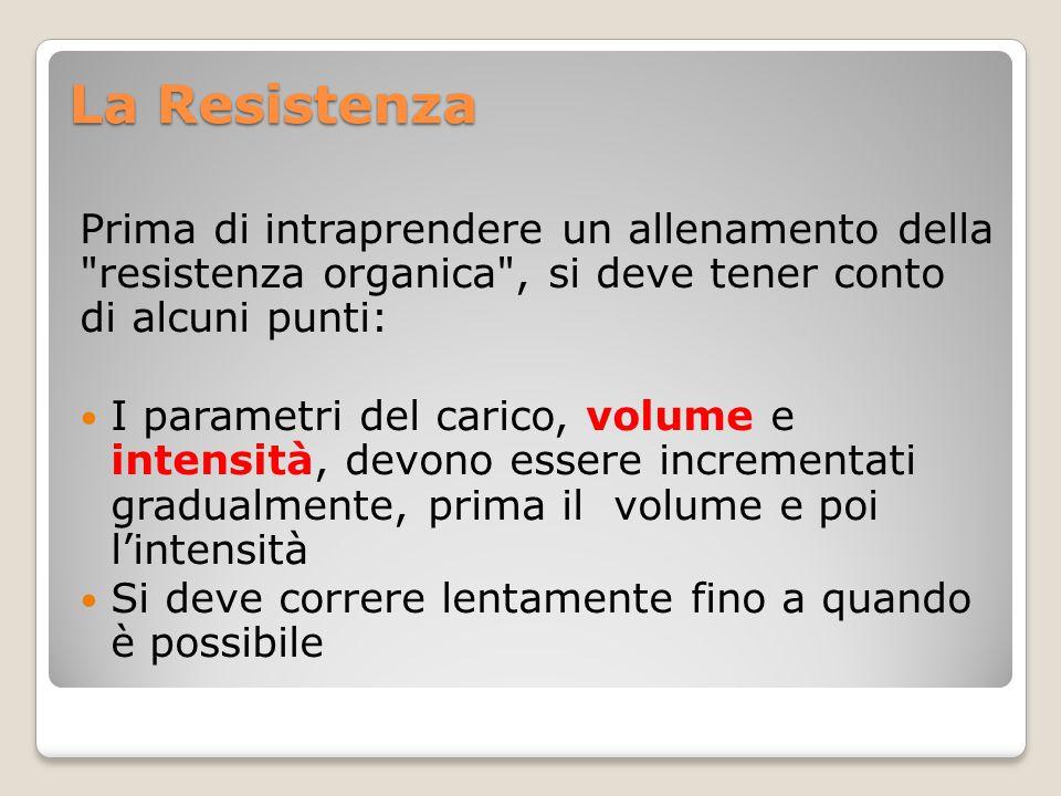 La Resistenza Prima di intraprendere un allenamento della resistenza organica , si deve tener conto di alcuni punti:
