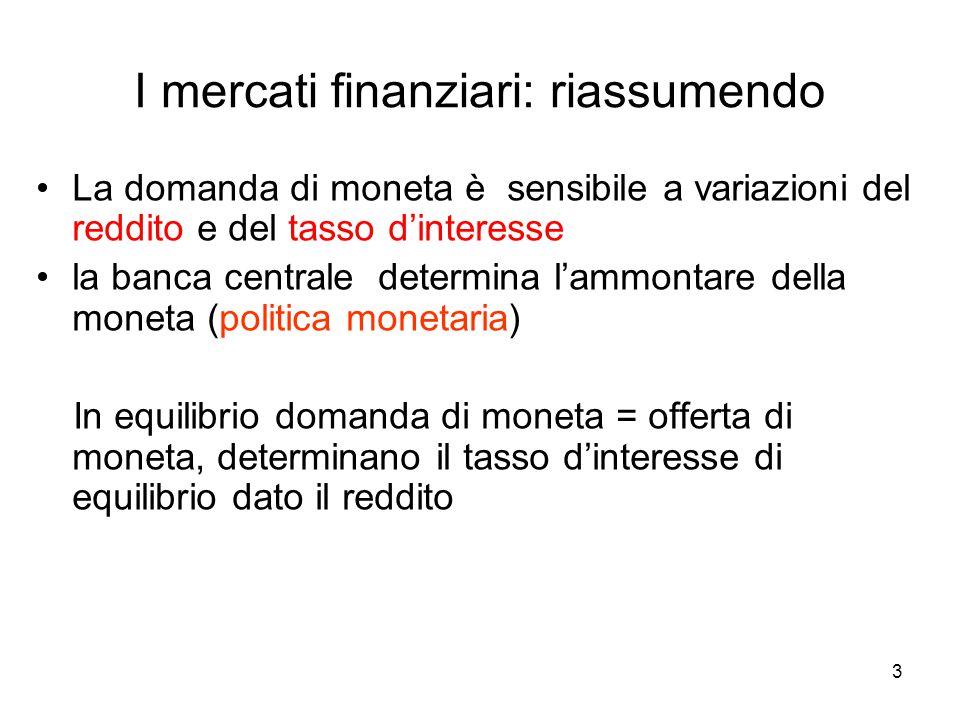 I mercati finanziari: riassumendo