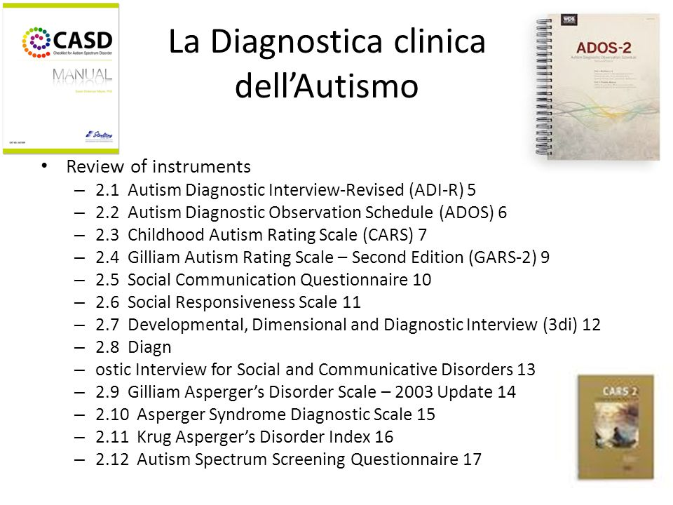 La Diagnostica clinica dell'Autismo