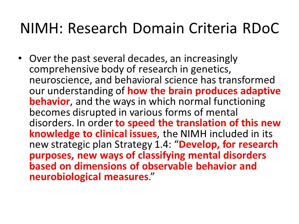 NIMH: Research Domain Criteria RDoC