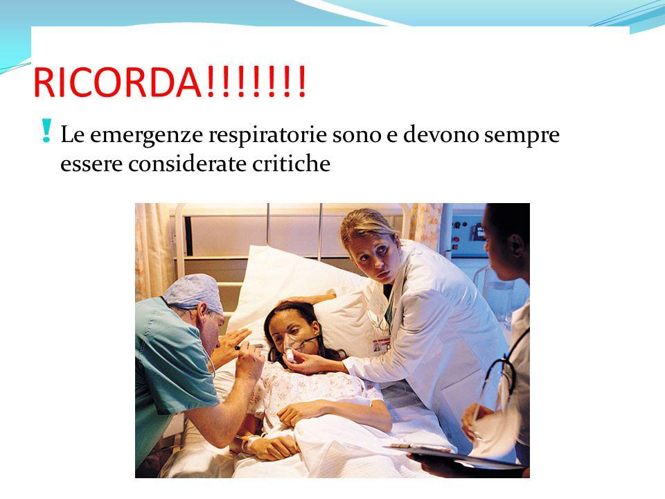 RICORDA!!!!!!! Le emergenze respiratorie sono e devono sempre essere considerate critiche