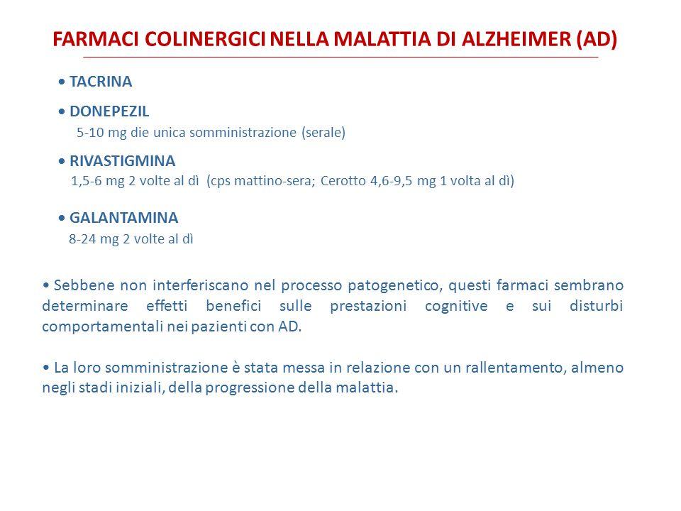 FARMACI COLINERGICI NELLA MALATTIA DI ALZHEIMER (AD)