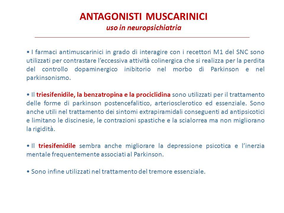 ANTAGONISTI MUSCARINICI uso in neuropsichiatria