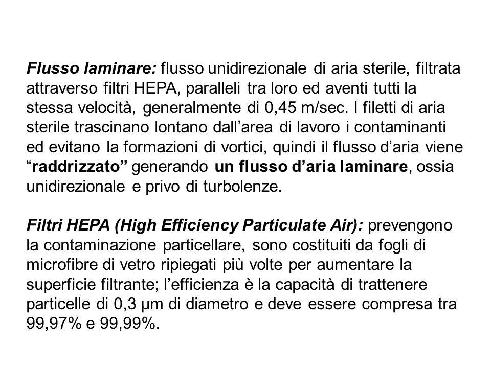 Flusso laminare: flusso unidirezionale di aria sterile, filtrata attraverso filtri HEPA, paralleli tra loro ed aventi tutti la stessa velocità, generalmente di 0,45 m/sec. I filetti di aria sterile trascinano lontano dall'area di lavoro i contaminanti ed evitano la formazioni di vortici, quindi il flusso d'aria viene raddrizzato generando un flusso d'aria laminare, ossia unidirezionale e privo di turbolenze.