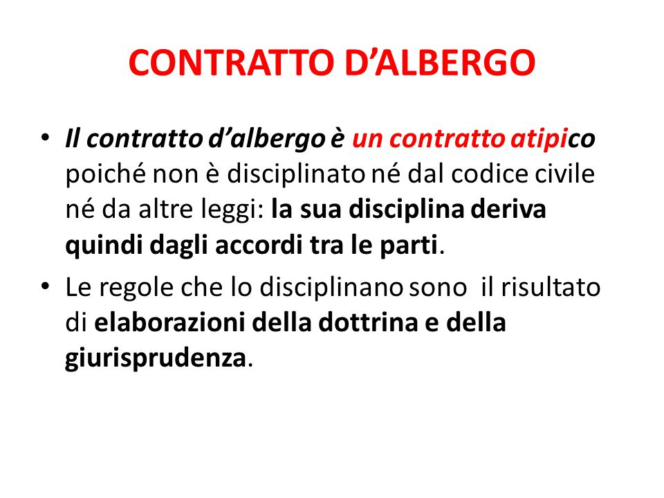 CONTRATTO D'ALBERGO