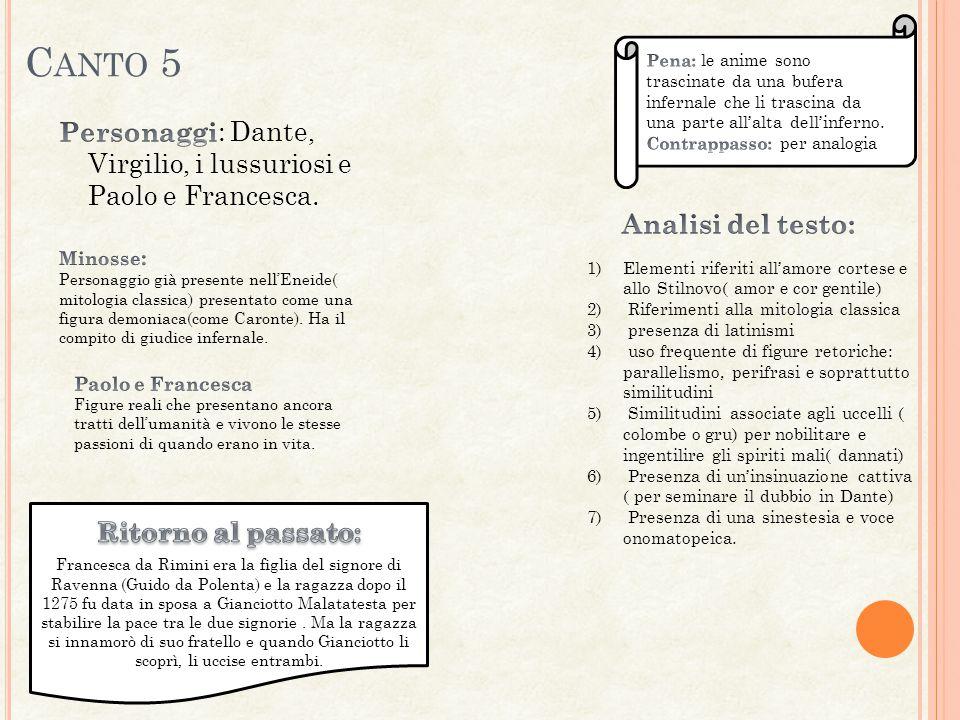 Canto 5 Personaggi: Dante, Virgilio, i lussuriosi e Paolo e Francesca.