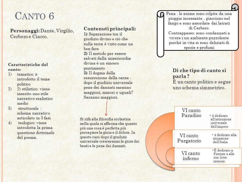 Canto 6 Contenuti principali: