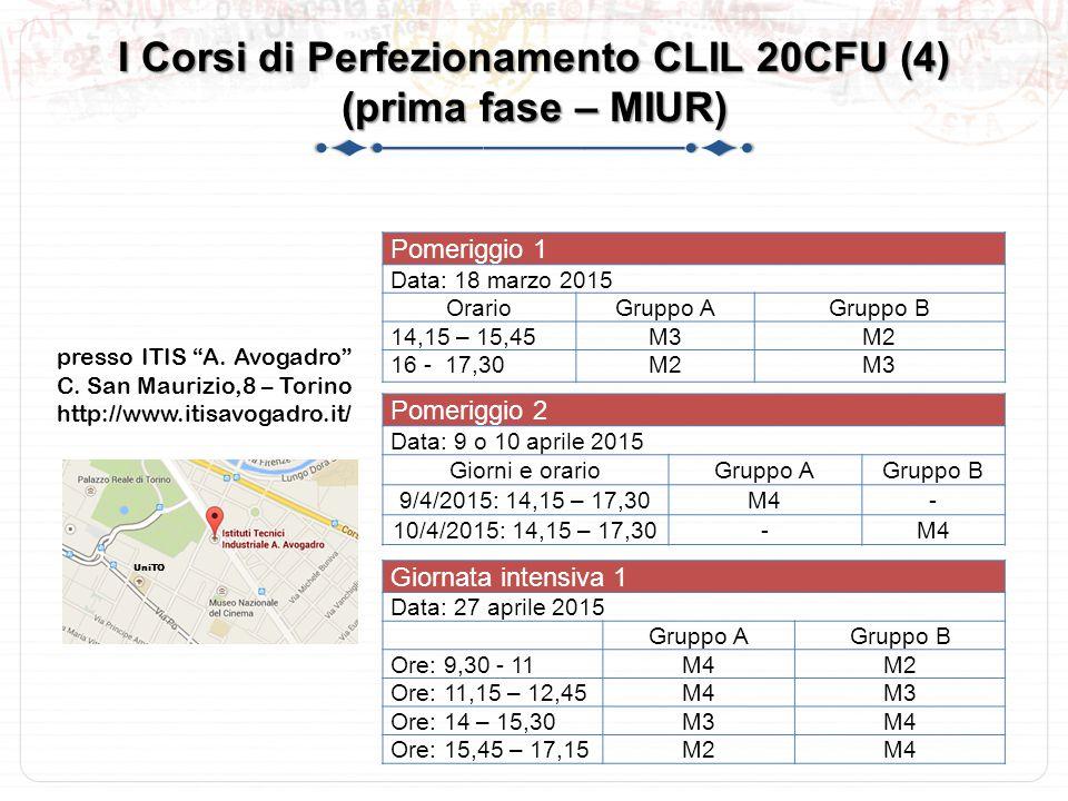I Corsi di Perfezionamento CLIL 20CFU (4) (prima fase – MIUR)