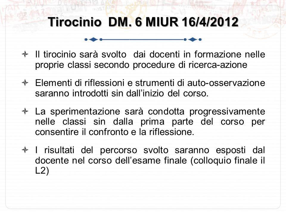 Tirocinio DM. 6 MIUR 16/4/2012 Il tirocinio sarà svolto dai docenti in formazione nelle proprie classi secondo procedure di ricerca-azione.