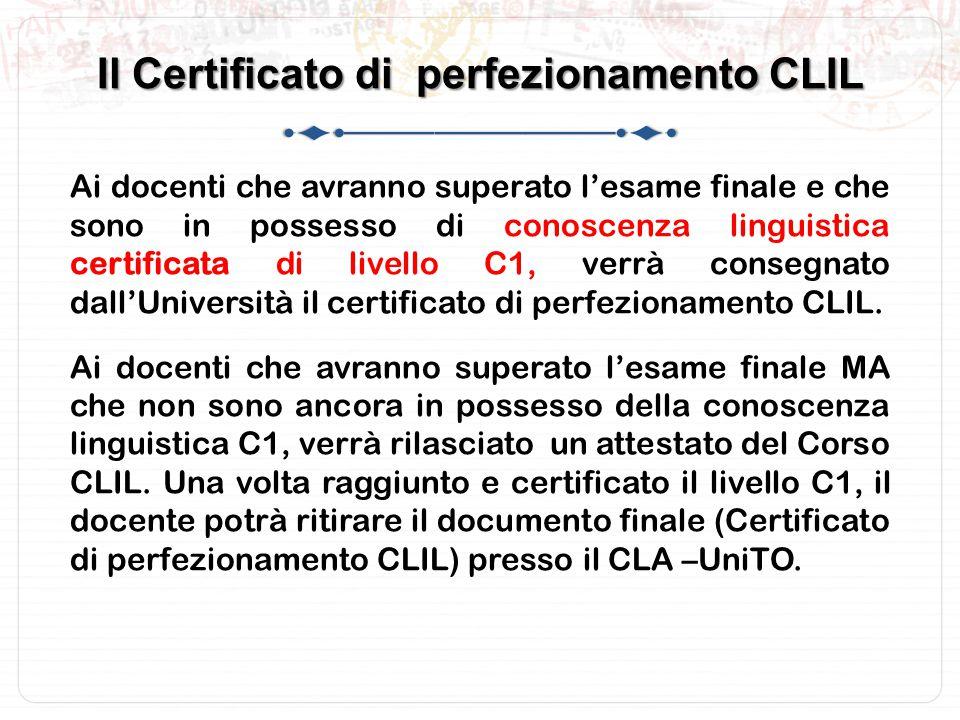 Il Certificato di perfezionamento CLIL
