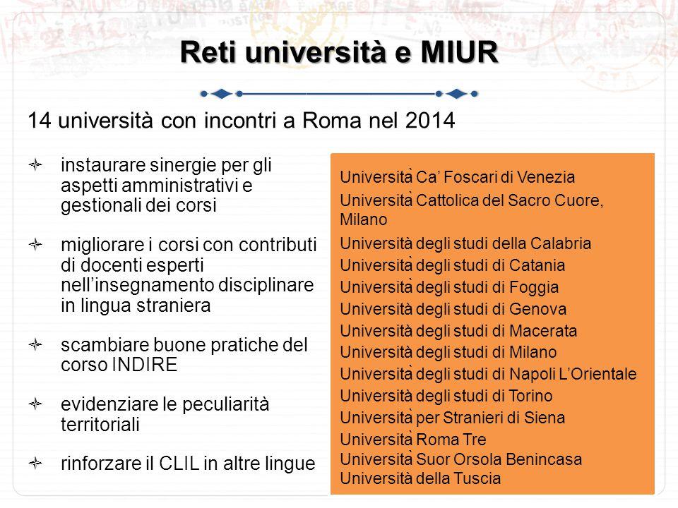 Reti università e MIUR 14 università con incontri a Roma nel 2014