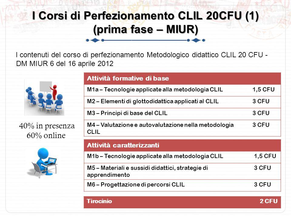 I Corsi di Perfezionamento CLIL 20CFU (1) (prima fase – MIUR)