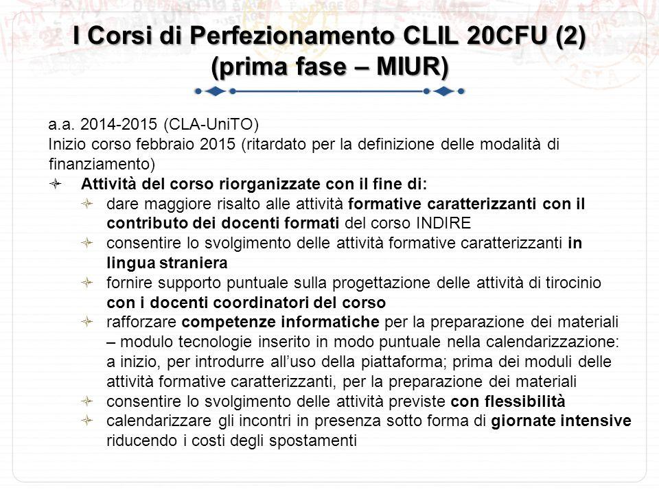 I Corsi di Perfezionamento CLIL 20CFU (2) (prima fase – MIUR)