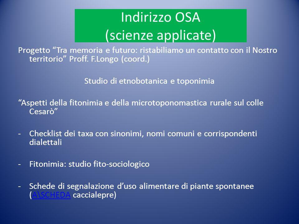 Indirizzo OSA (scienze applicate)