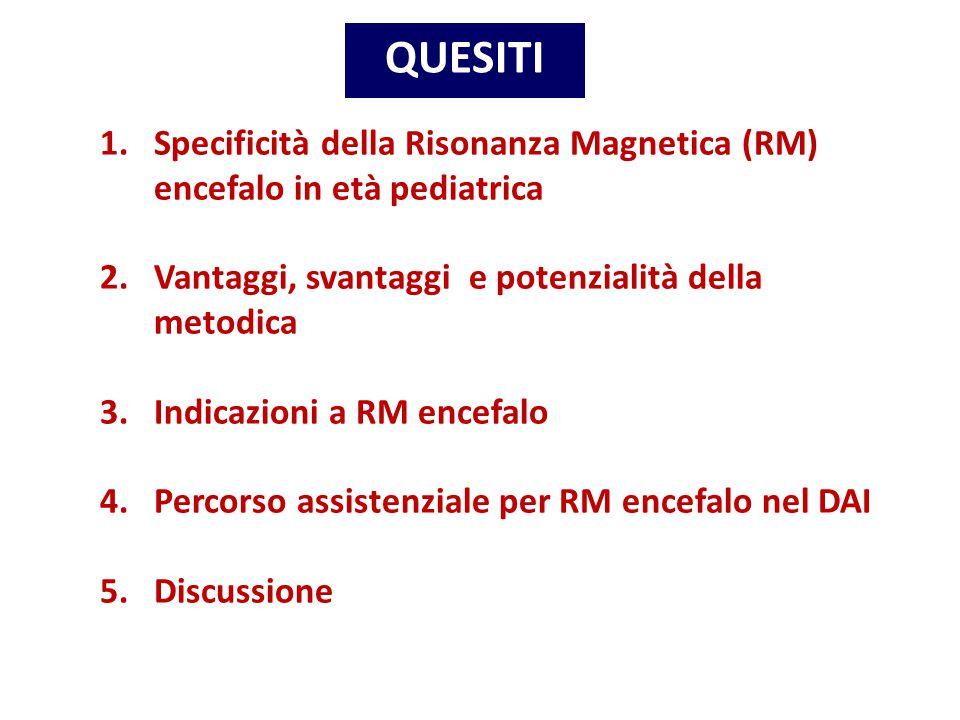 QUESITI Specificità della Risonanza Magnetica (RM) encefalo in età pediatrica. Vantaggi, svantaggi e potenzialità della metodica.