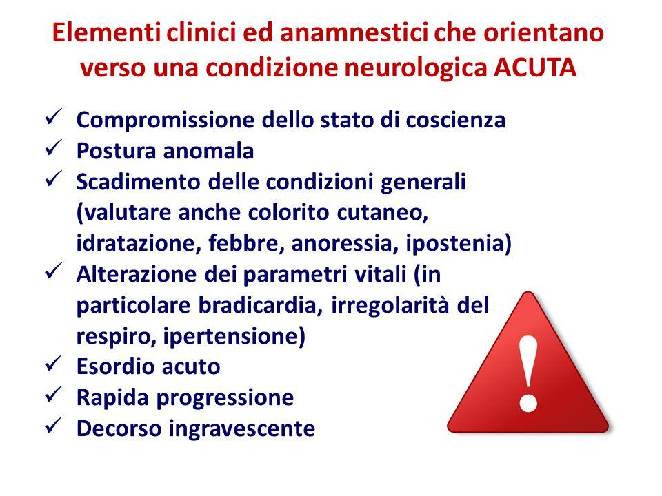 Elementi clinici ed anamnestici che orientano verso una condizione neurologica ACUTA