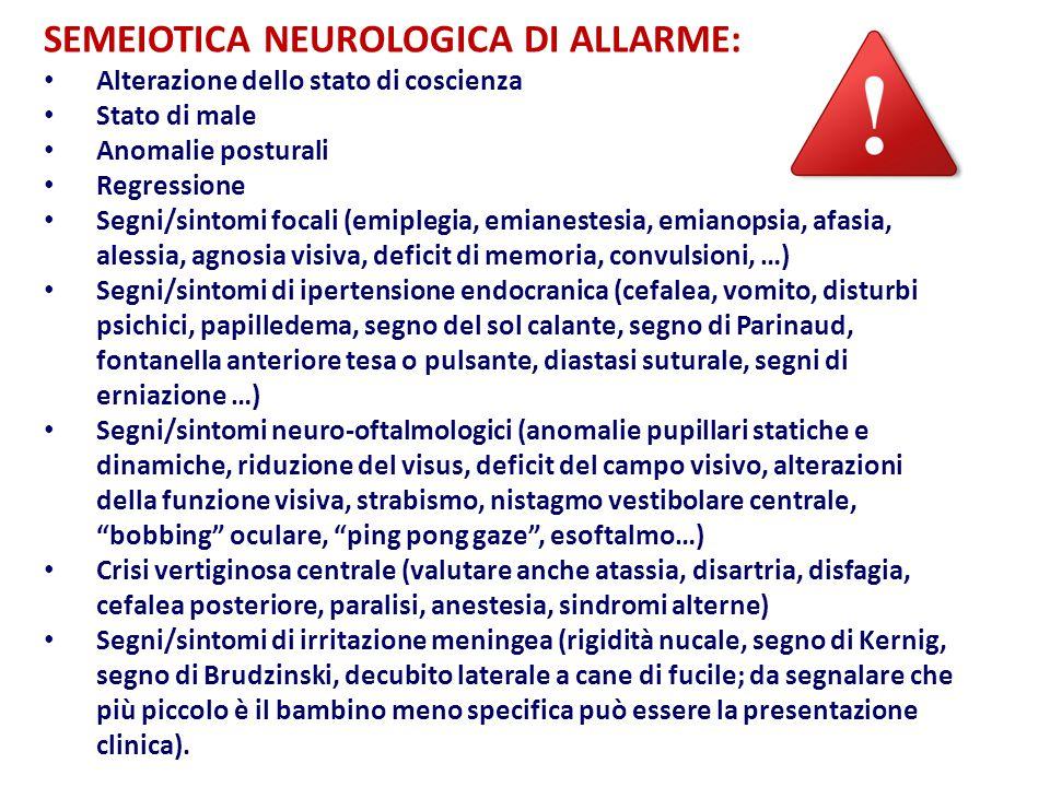 SEMEIOTICA NEUROLOGICA DI ALLARME: