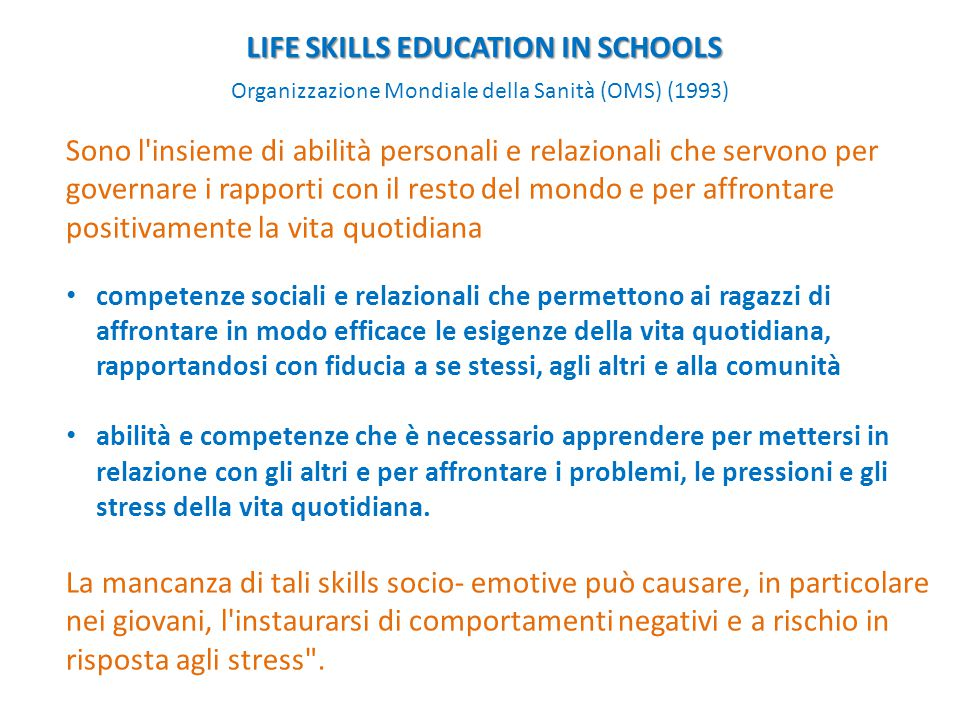LIFE SKILLS EDUCATION IN SCHOOLS